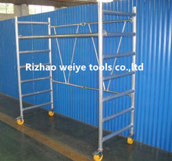 China Mobile aluminum scaffolding h frame with fiberglass plank , PVC wheels 34.7kg supplier